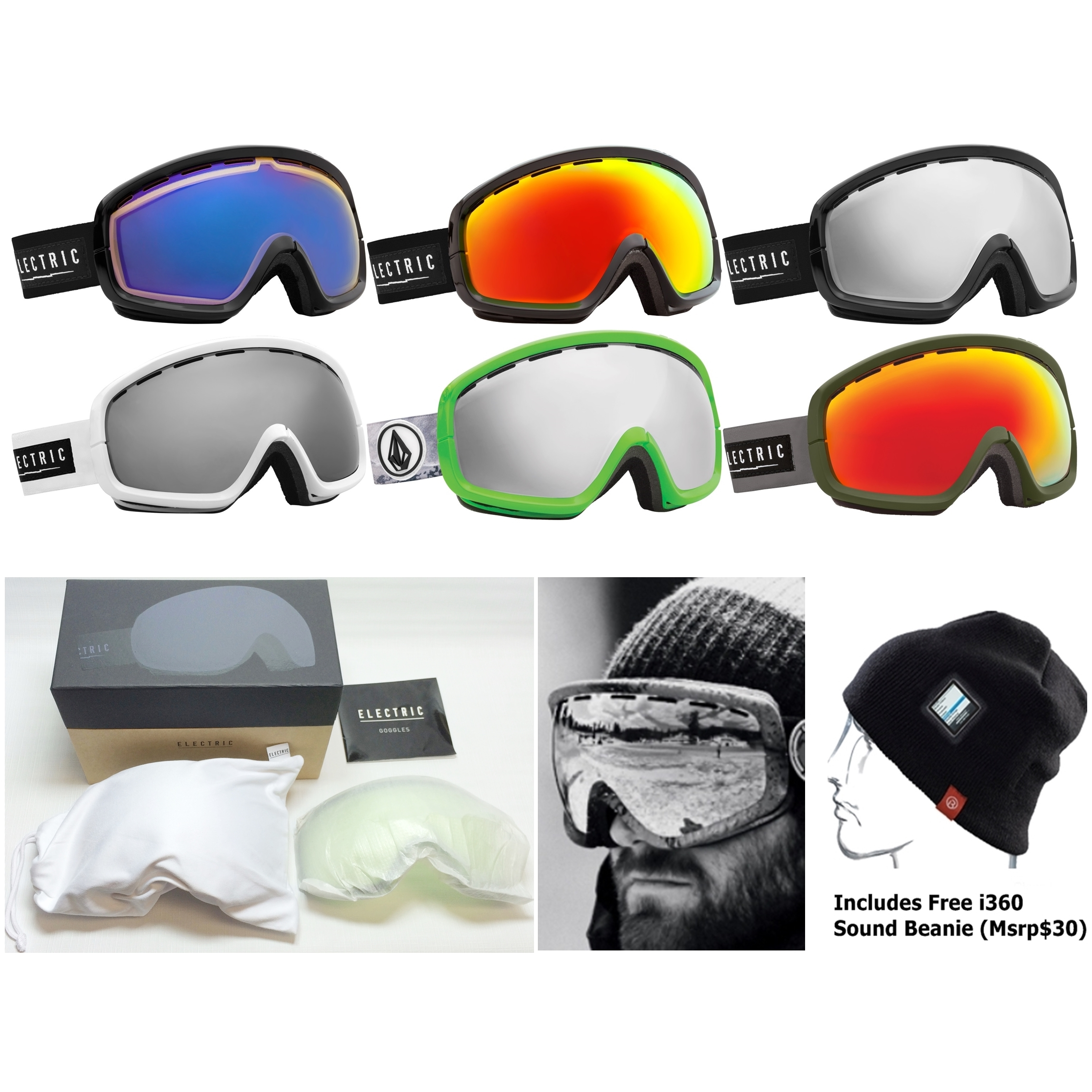 electronic ski goggles  NEW Electric EGB2s Mens Womens Ski Snowboard Goggles Free Lens+Hat ...