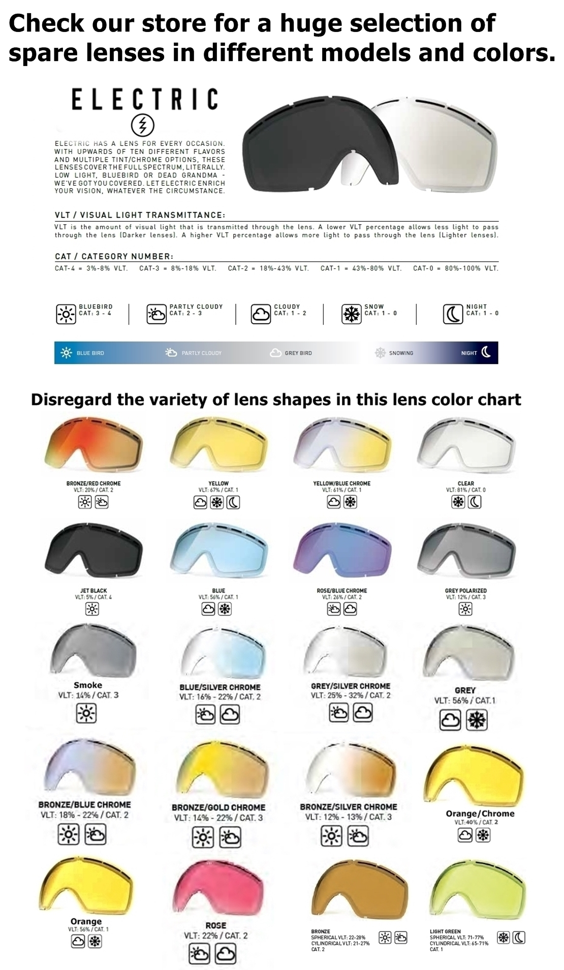 New Electric Eg 5s Spare Replacement Goggle Lens Choose