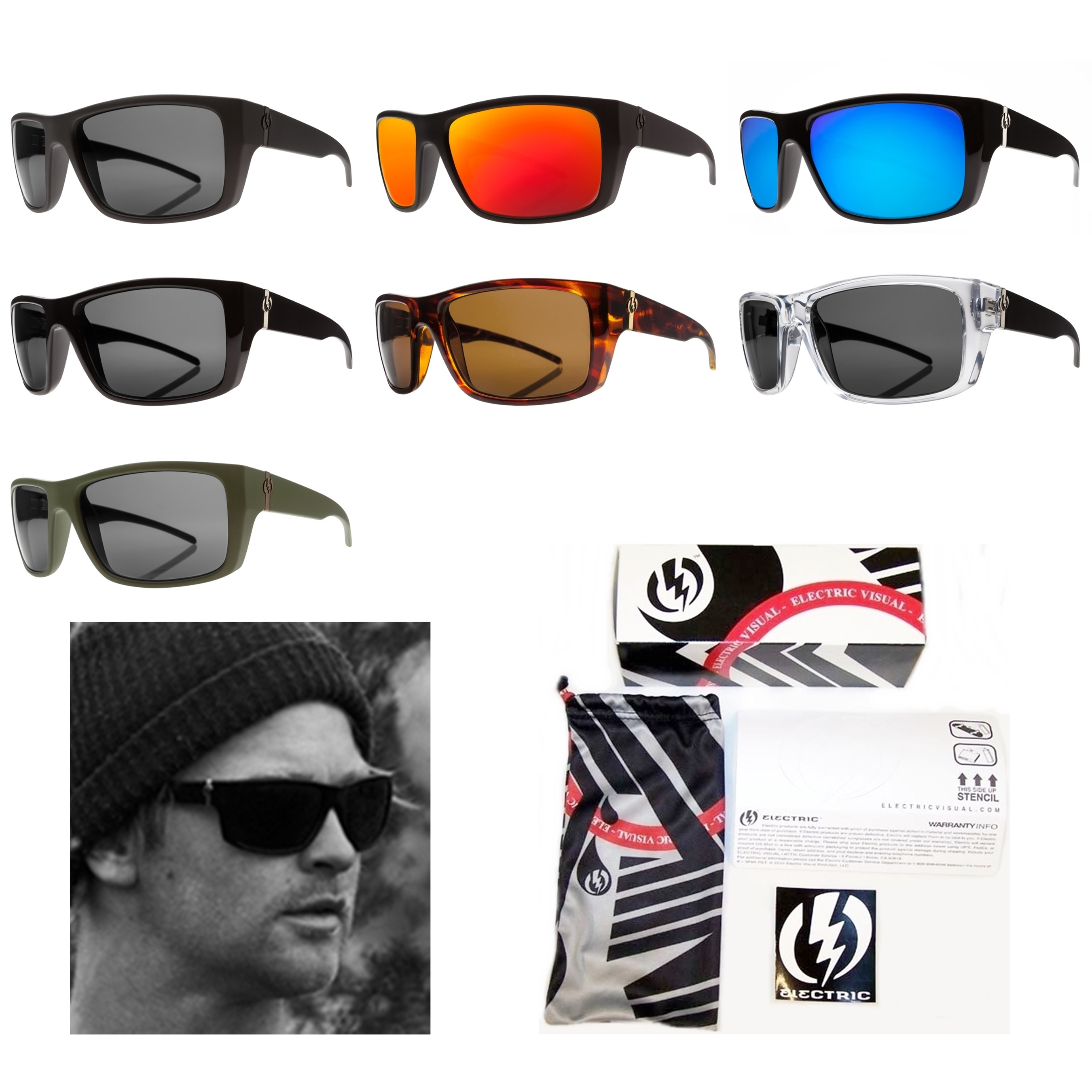New Electric Visual Sixer Mens Rectangular Sunglasses Msrp 100 Ebay