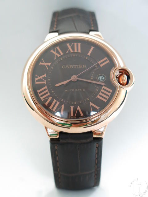 Cartier Ballon Bleu 18k Rose Gold Edition Leather Band Brown Dial Clone Eta 2824