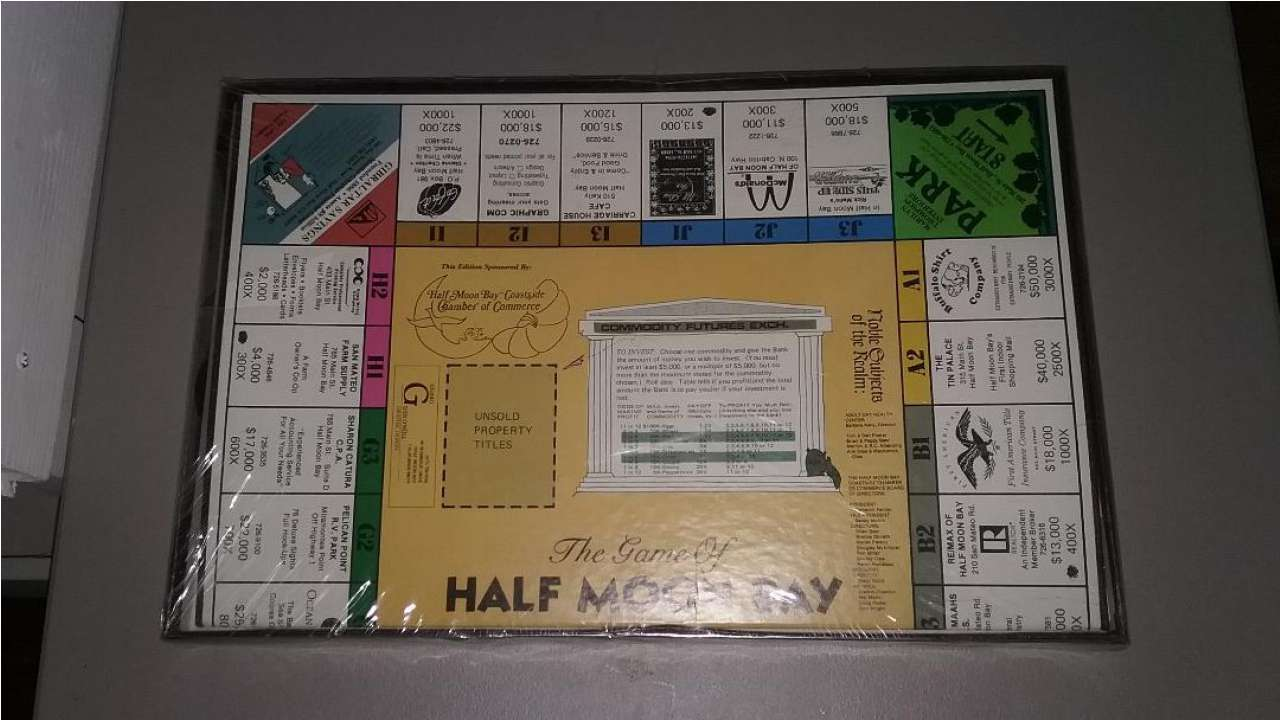 The Game of Half Moon Bay California (Monopoly) New