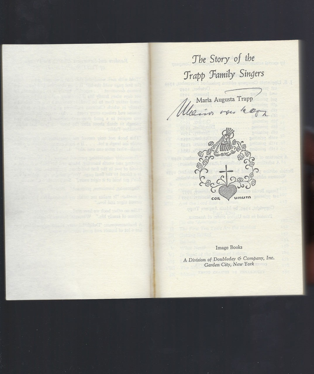 Story of the Trapp Family Singers - Signed By Maria Trapp Plus Extras!, Maria Augusta Trapp